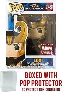 Funko Pop! Marvel: Thor Ragnarok - Loki with Helmet #248 Collector Corps Vinyl Figure (Bundled with Pop BOX PROTECTOR CASE)