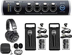 PRESONUS SW5E 5-Port AVB Switch w/PoE, Rack Mountable+Headphones+(2) Mics+Cases