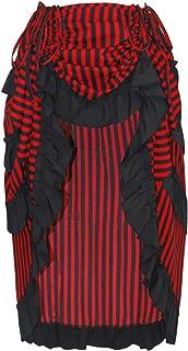 CHARMIAN Women's Steampunk Gothic High Low Ruffle Cyberpunk Skirt