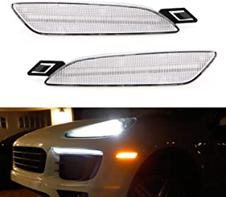 iJDMTOY Clear Lens Amber Full LED Bumper Side Marker Light Kit For 2015-2018 Porsche Cayenne, Powered by 40-SMD LED, Replace OEM Front Sidemarker Lamps