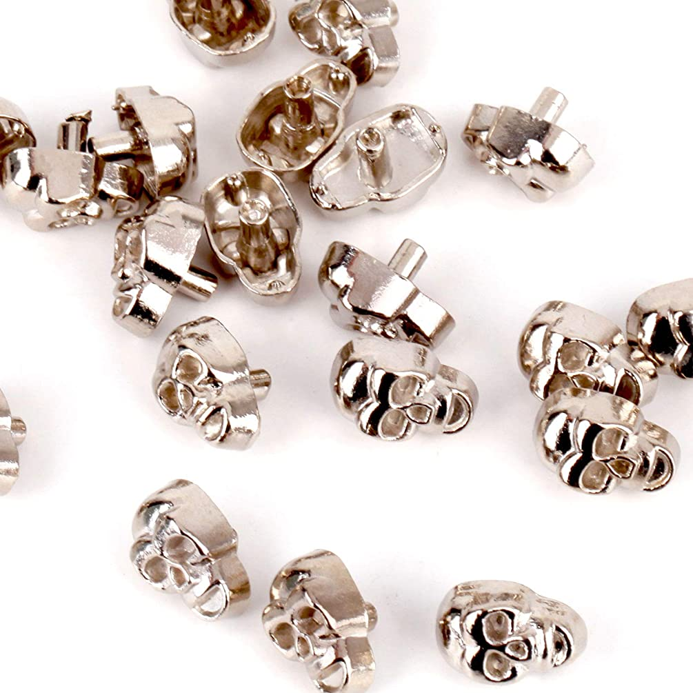 RUBYCA Skull Head Rapid Rivets and Studs, Metal Double Cap Compression Rivets, Speedy Rivets for Fabric Leather Craft Crafting, Silver Color (500 Sets)