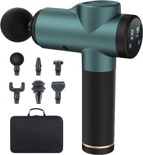 Pistolet de Massage Musculaire, LofamyMassage Gun Portable, 30 Vitesses Réglables, 6 Têtes de Massage et Ecran LED, ...