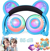 Kids Headphones - Wired Earphone with LED Flashing Lights, Stereo Sound, Foldable, 3.5mm Jack, 85dB Volume Limited - Over Ear Bear Headsets for iPad Cellphones Computer Boys Girls Home Airplane School