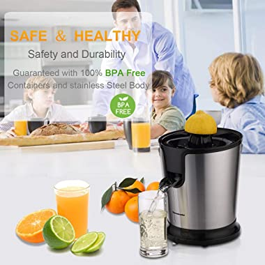 Homeleader Citrus Juicer Stainless Steel Juice Squeezer Electric Orange Juicer with Two Cones, Powerful Motor for Grapefruits