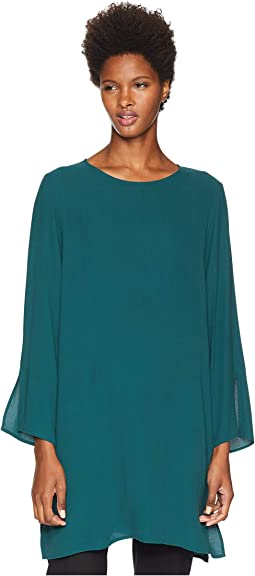 Silk Georgette Crepe Round Neck Tunic with Side Slits
