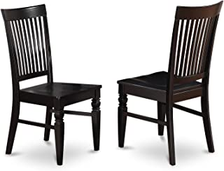 East West Furniture Wood Seat Dining Chair Set with Slatted Back, Black Finish, Set of 2
