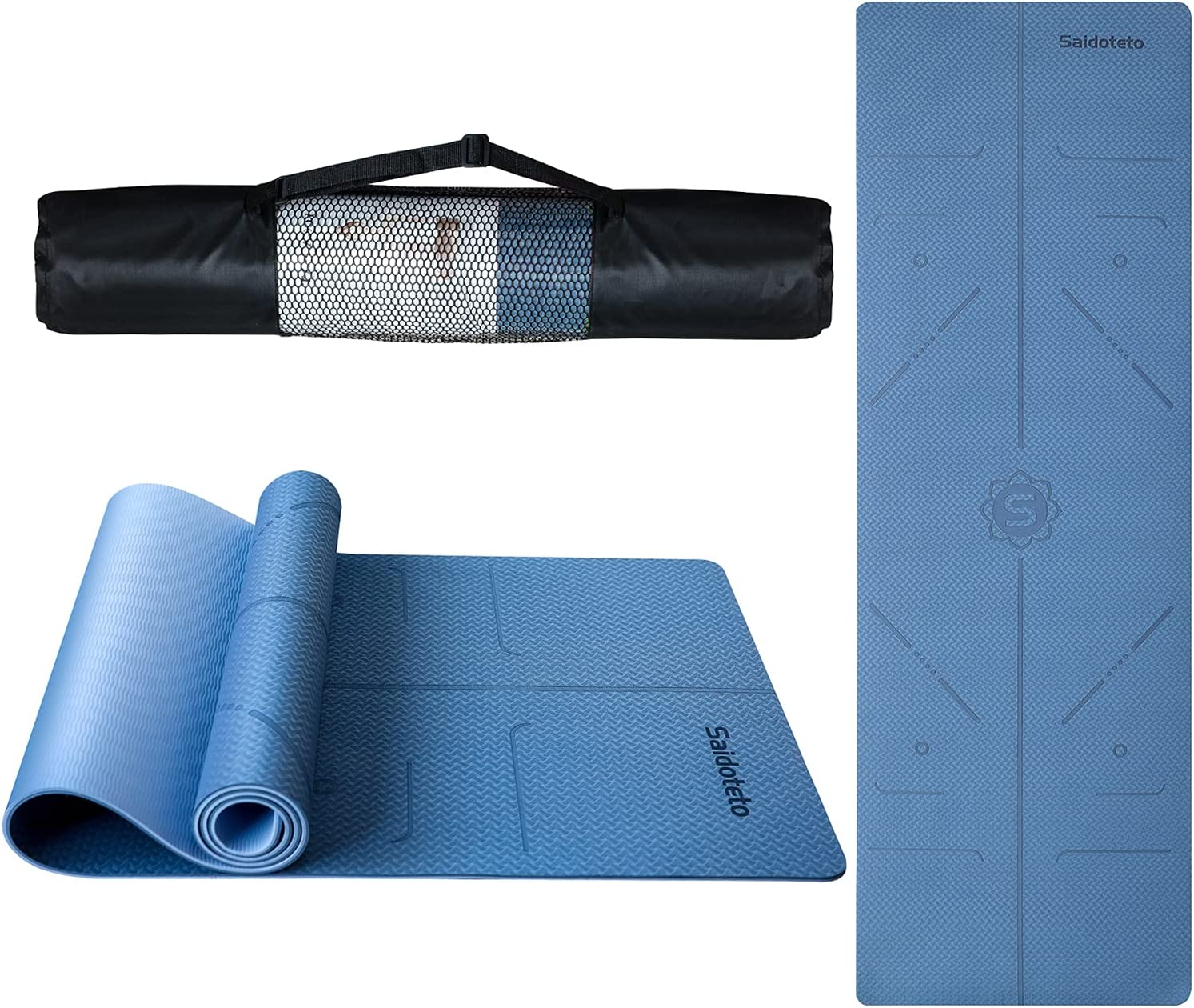 sold out Saditeto Yoga Mat with Body Alignment Fittness Exer - TPE Max 40% OFF System