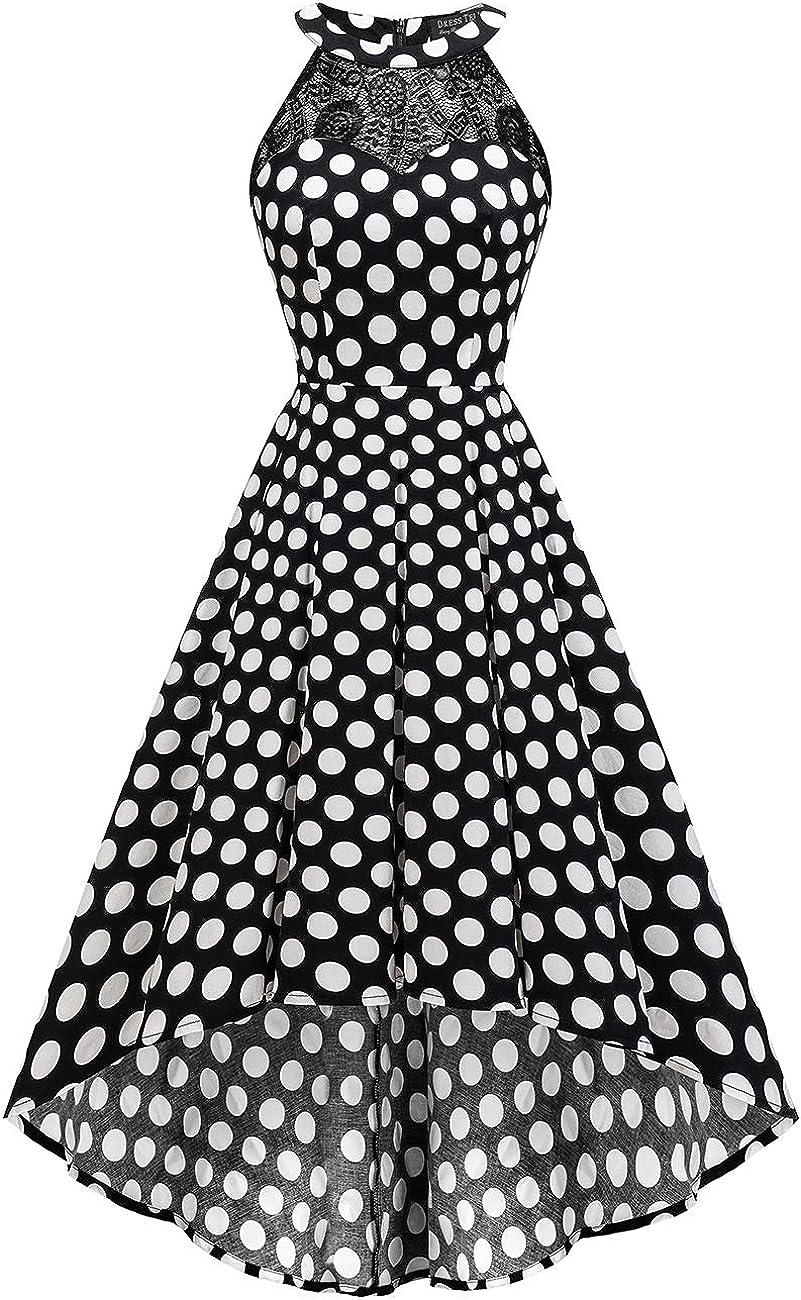 DRESSTELLS Women's Vintage 50's Bridesmaid Halter Floral Lace Cocktail Prom Party Hi-Lo Dress Black White Dot XS
