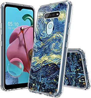 AIMUHO LG Q51 / LG K51 Case, Transparent TPU Bumper + Hard PC Back Shockproof Art Painted Glossy Clear Bling Case for LG Q51 / LG K51 2020 - Starry Night