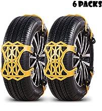Qomolo Cadenas de Nieve, Universal Cadenas Coche Nieve 6 Piezas Invierno Antideslizante de Neumático de Nieve Chains para Los SUV Camión,Automóvil,Ancho del Neumático 165-275mm(N1)