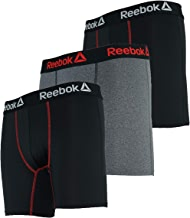 3 Pack Reebok Men's Odor Preventing Boxer Briefs (Black/Charcoal/Black)
