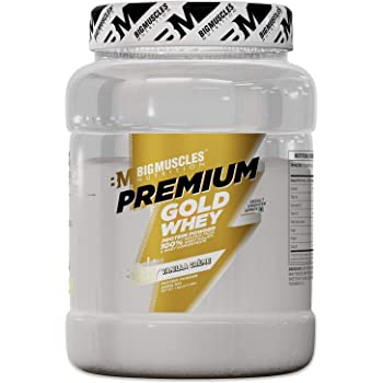 Bigmuscles Nutrition Premium Gold Whey 1Kg[Vanilla Crème], Whey Protein Isolate & Whey Protein Concentrate, 25g Protein Per Serving, 0g Sugar, 5.5g BCAA & 4g Glutamic Acid