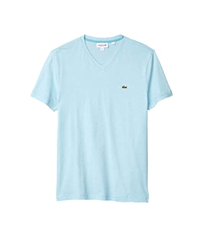 Lacoste V-Neck Stripe T-Shirt (Cicer/White) Men