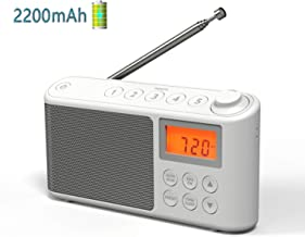 FM AM Radio, USB/Battery Powered Portable AM FM Radios 2200mAh Rechargeable Radio, LCD Clock Radio Digital Shortwave radios with Sleep Timer, Earphone Jack, Support 15 Hours Playback (White)