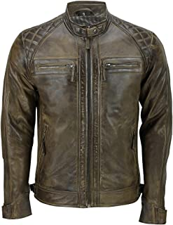 Men's Brown Vintage Retro Quilted Real Nappa Leather Jacket