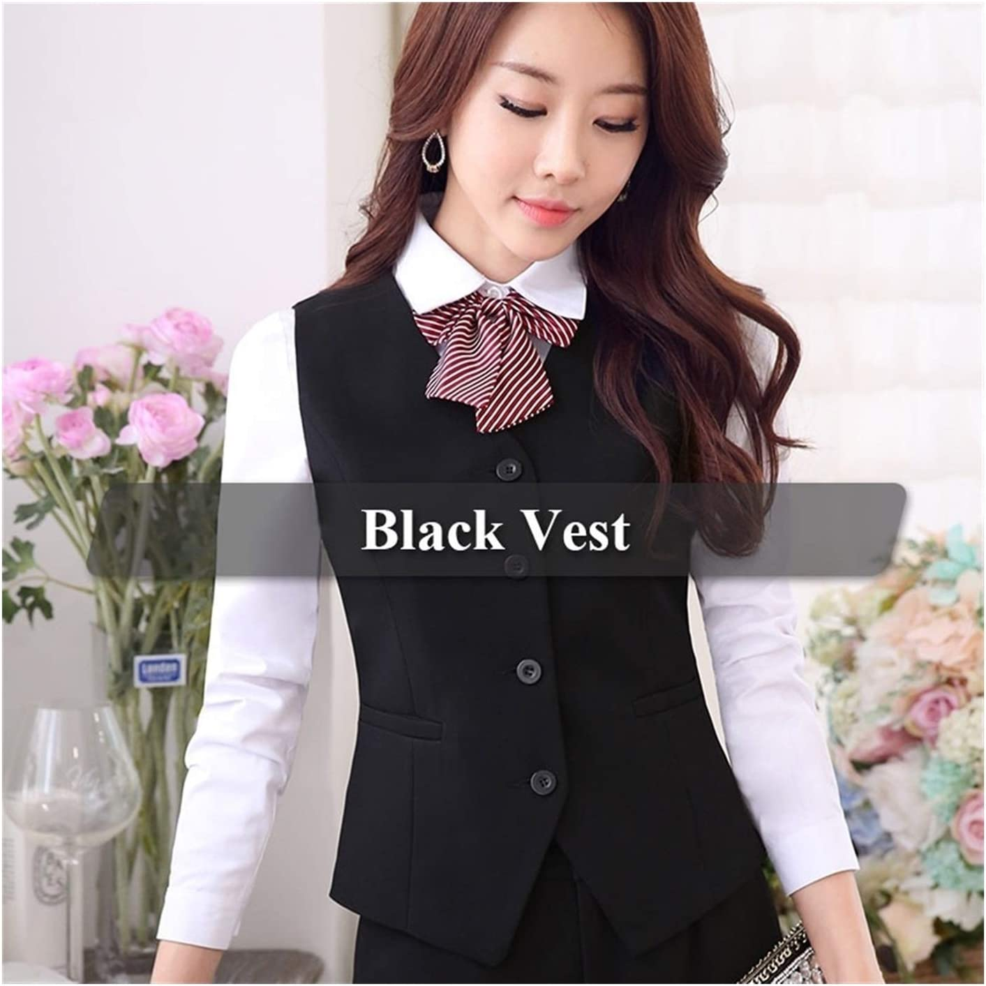 Colour: Dark Grey, Size: 3XL XIAOXINGXING Womens Elegant V-Neck Carrier-Shaped Vest Waistcoat for Office Workwear Formal Clothing
