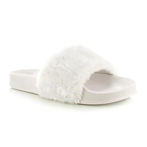 1d1d487f51e7 Chockers Shoes® Womens Ladies Black Grey White Dusky Pink Faux Fur Wide  Strap Thick Comfy