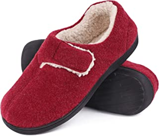 Women's Fuzzy Wool-Like Memory Foam Slippers Closed Back Fleece House Shoes with Adjustable Hook and Loop