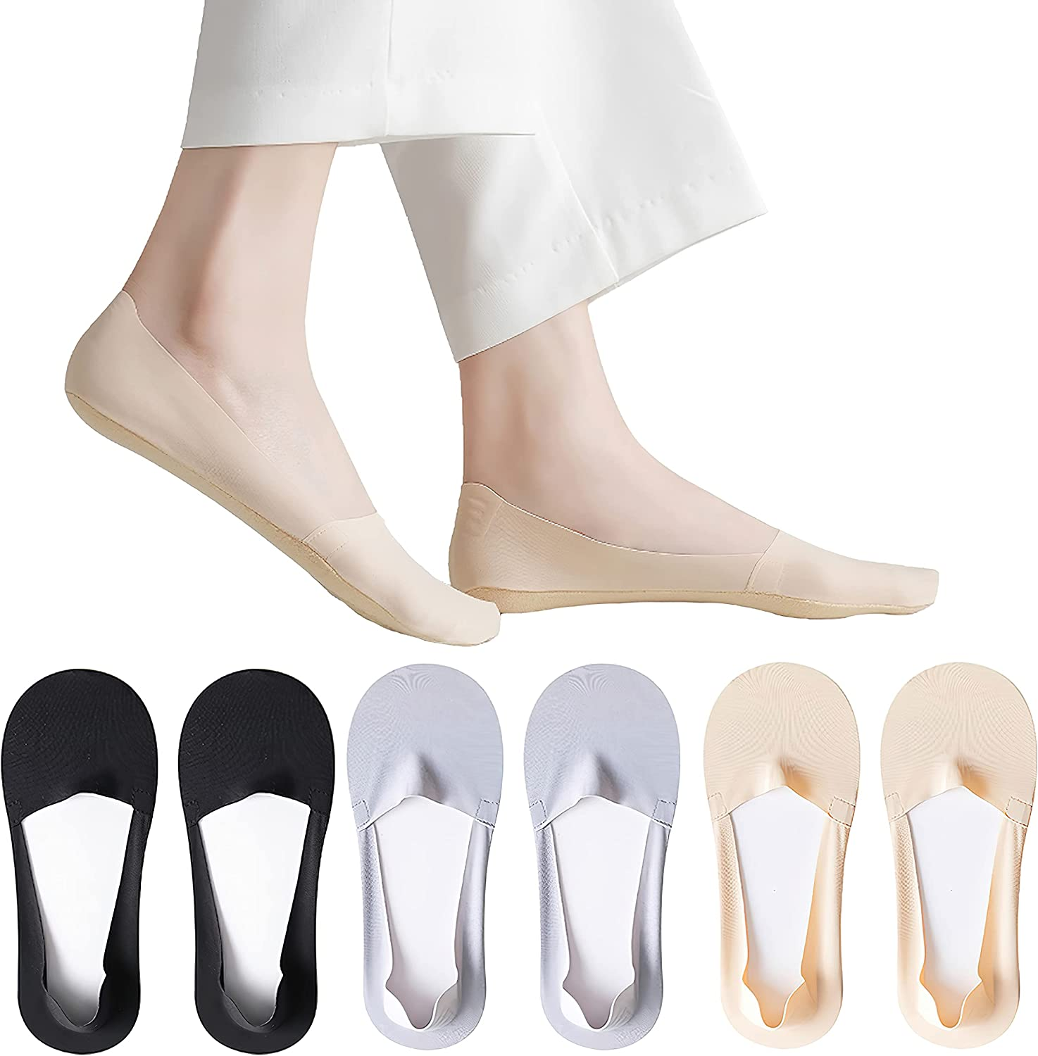 Caudblor Thin No Show Socks, Low Cut Liner Non Slip Invisible Hidden sock for Flat Boat, Cool Comfort Breathable, 6 Pairs
