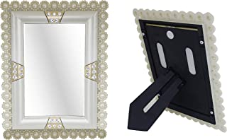 Majik Rectangle Pearl Design Frame Mirror For Home, Salon And Use In Jewellery shop Decoration (8 Inch)