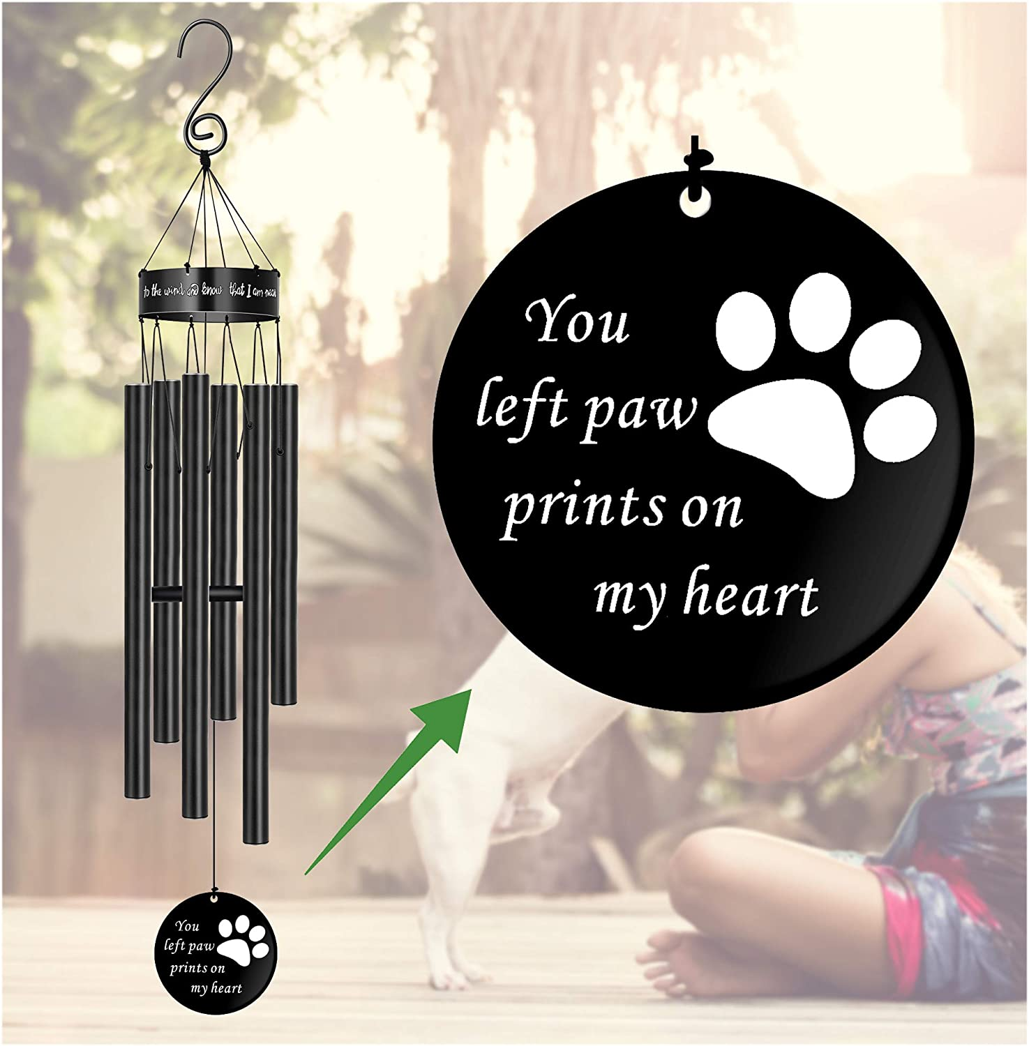 Pet Sympathy Wind Chimes Very popular for Loss Dog Print Memorial Cat Austin Mall Paw of