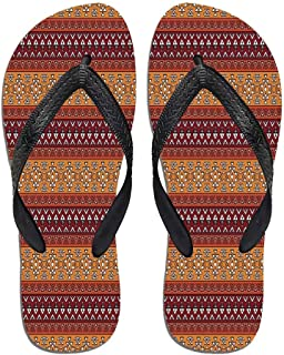 Native American Stylish Flip Flops,Ancient Ethnic Traditional,for Men&Boys