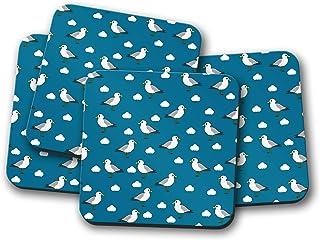 Posavasos azules con diseño de gaviota, posavasos individuales o juego de 4