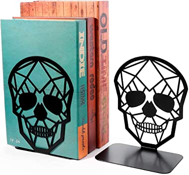 Metal Bookends for Shelves Decorative - Durable Iron Unique Black Skull Skeleton Design Decorative Bookends, Sturdy and Durab