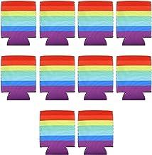 10 Stks Rainbow Pride Bier LGBT Kan Koeler Mouwen Set 330ml Geïsoleerde Drink Inklapbare Feesten Evenementen 12.5x10cm