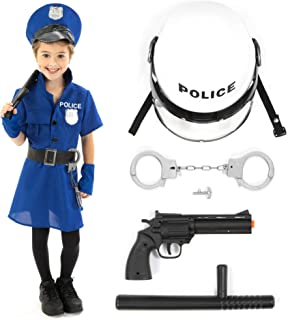 Police Officer Halloween Costume Accessory Kit – Policewoman Kids Outfit & Props
