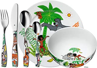 WMF Children's Crockery Set 6-Piece Jungle Book Cromargan 18/10 Stainless Steel Polished Suitable from 3 Years
