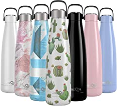 RiCool 17oz Thermos Water Bottle Double Vacuum Insulation Stainless Steel Water Bottle BPA Free Leak-Proof Cap Hanging Hoop Portable Sports Water Bottle for Hot Cold Drink Indoor Outdoor