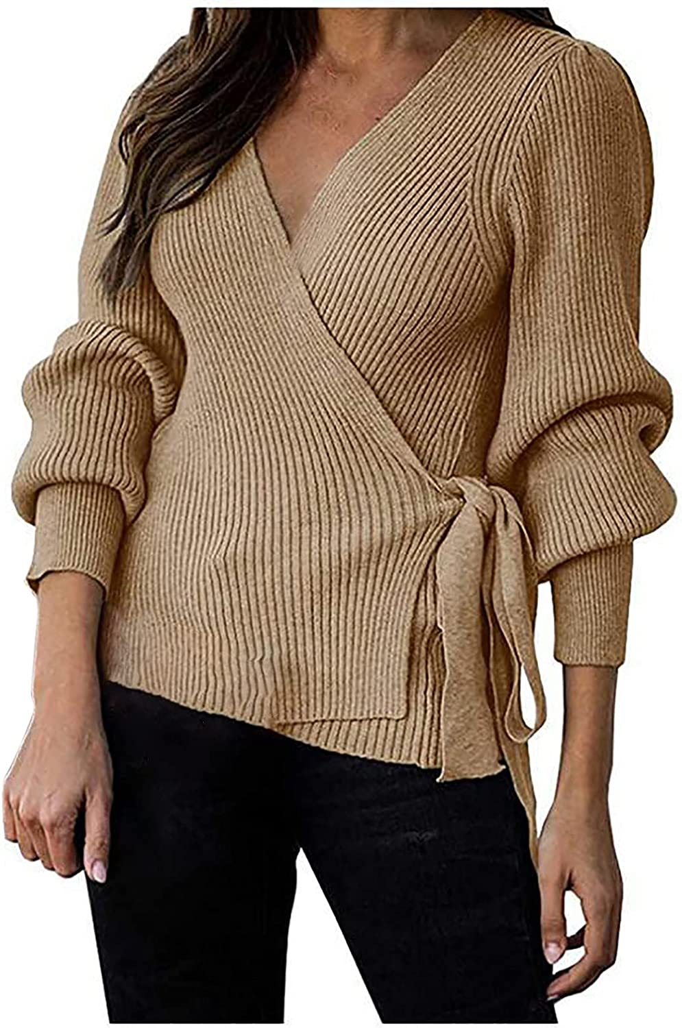 Womens Long Sleeve Solid Casual Knit Cardigan Open Front Side Slit Sweater