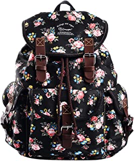 Women Canvas Floral Teenage School Backpack Cute College Rucksack 297A