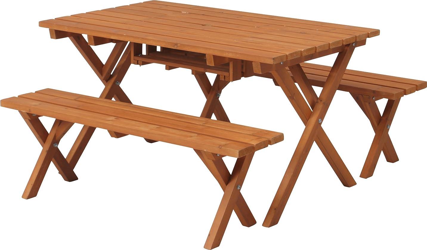 懇願するパンツ信頼性のある不二貿易 ガーデン 杉材 バーベキューテーブル&ベンチセット コンロスペース付き ナチュラル 81761