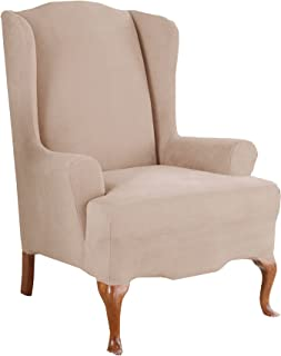 SureFit Stretch Suede - Wing Chair Slipcover - Taupe
