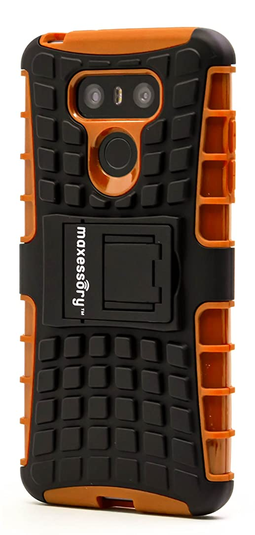 LG G6 2017 Case, Maxessory Orange Offroad Shock-Proof Rugged Dual-Layer Armor Rigid Ultra-Slim Kickstand Protective Hard Tough Hybrid Phone Cover Shell