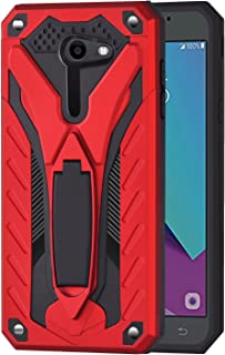 Ownest Compatible Samsung Galaxy J3 Emerge/J3 Eclipse/J3 Mission/J3 Prime/Express Prime 2/Sol 2 Case, Dual Layer 2 in 1 with Protection and Kickstand Case for Galaxy J3 2017,Not fit J3 2018-Red