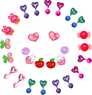 14 Pairs Clip-on Earrings Pretend Princess Play Earring Party Favor Girls Paying Earrings Ser,All Packed in 2 Clear Boxes