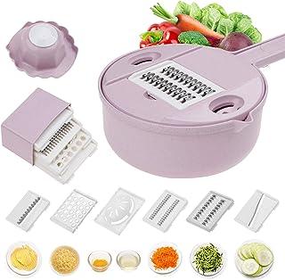 Légumes Mandoline Slicer 10 en 1 Spiralizer Légumes Cutter and Shredder Râpe Julienne à usages multiples Cuisine avec sépa...