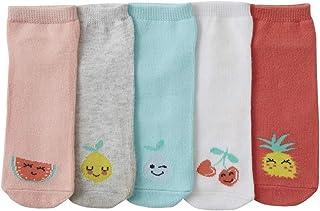 VERTBAUDET, Lote de 5 pares de calcetines cortos con frutas para niña AZUL MEDIO LISO CON MOTIVOS 23/26