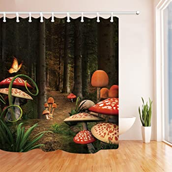 """Magic Forest Pathway Mushroom Butterfly Polyester Fabric Shower Curtain Set 72/"""""""