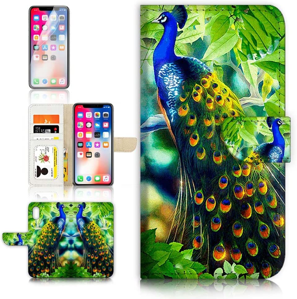 (for iPhone Xs MAX) Flip Wallet Case Cover & Screen Protector Bundle - A4112 Peacock