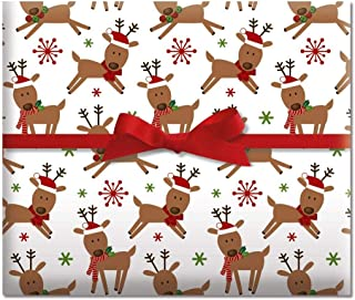 Merry Reindeer Jumbo Rolled Gift Wrap - 1 Giant Roll, 23 Inches Wide by 35 feet Long, Heavyweight, Tear-Resistant, Holiday Wrapping Paper
