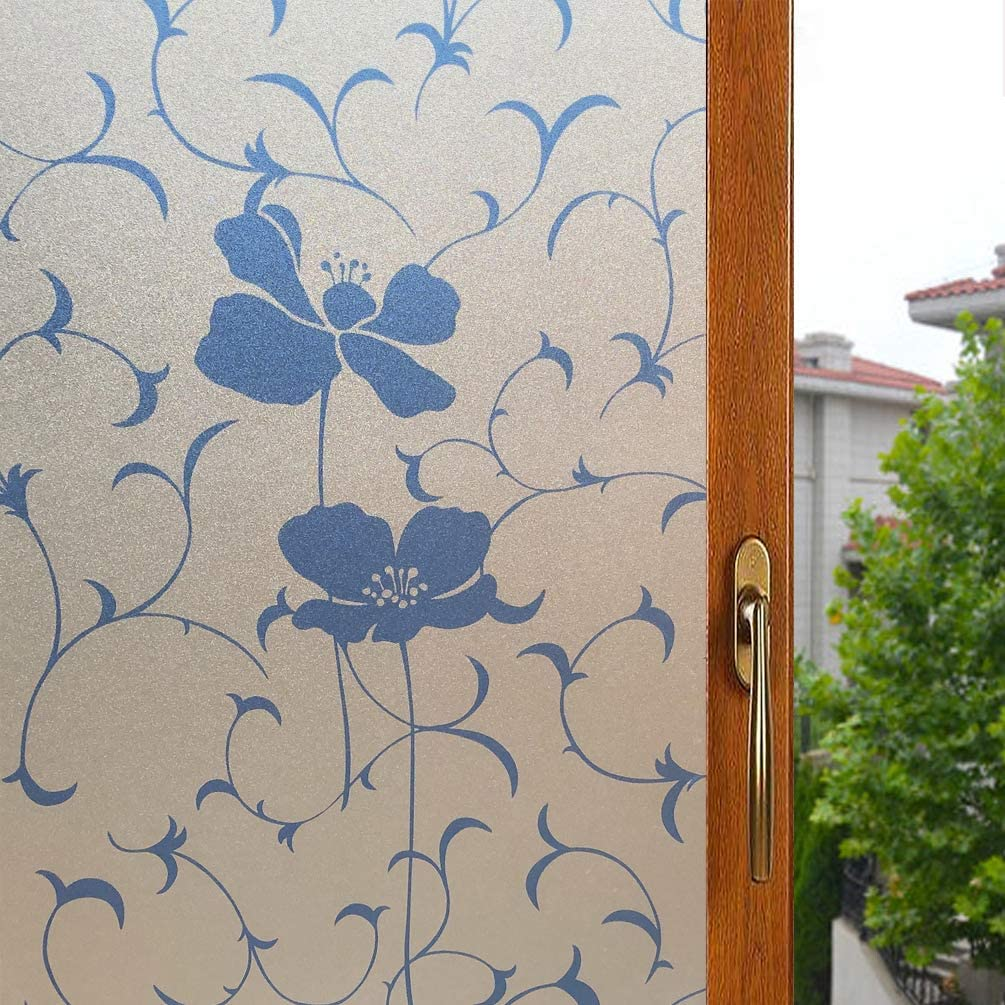 HIWOO outlet Leaf Flower Window Film Glass OFFicial store Privacy Non-Adh Frosted