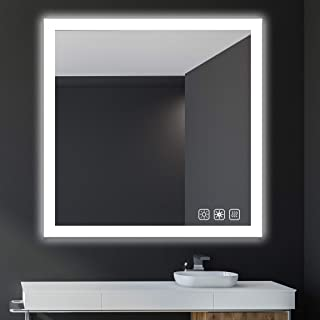 SL4U 38x38 Inch LED Lighted Bathroom Wall Mounted Mirror, Dimmable Memory Touch Button, Anti-Fog, Adjustable Warm White/Daylight, YSJ-A008