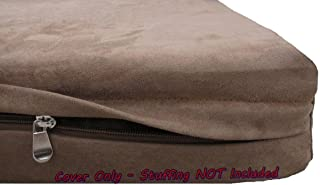 Dogbed4less DIY Durable Brown Microsuede Pet Bed External Duvet Cover and Waterproof Internal Case for Small, Medium to Extra Large Dog - Covers only
