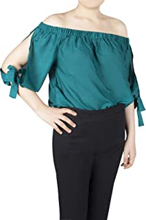 Lofbaz Women'S Trendy 100% Rayon Off The Shoulder Crop Tops and Summer Blouses - Soft and Lightweight Rayon Crop Tops for ...