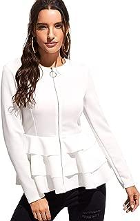 Women's Elegant Zip Up Long Sleeve Ruffle Hem Textured Peplum Top