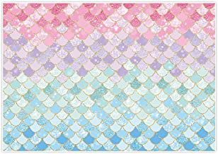 Allenjoy 7x5ft Soft Fabric Pastle Little Mermaid Scales Backdrop for Photography Pictures Girls Birthday Party Gold Glitter Purple Pink Blue Newborn Princess Baby Shower Decoration Photo Booth Props